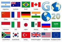 32 industrialized landsflaggor Royaltyfria Foton