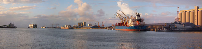 32 megapixel panoramic harbor landscape. Ships in sunset in Port Louis harbor, Mauritius February 2012 Stock Photography