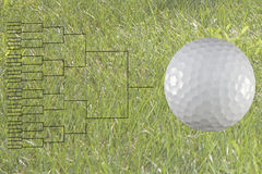 32 Player Golf Match Play Bracket. 32 player gold match play bracket with golf ball on green grass background Stock Photography