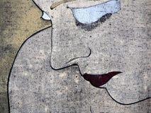 纵向哀伤的妇女woodprint 免版税库存图片