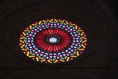 327 Stainglass dans une église en Majorque Espagne Photographie stock