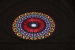 327 Stainglass in una chiesa in Mallorca Spagna Fotografia Stock