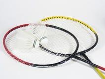 羽毛球克服的raquets 图库摄影