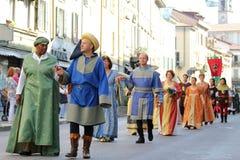 32do, desfile histórico, Palio de Baradello Fotografía de archivo
