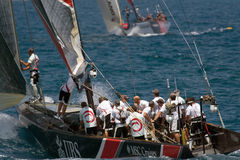 32nd America's Cup. Valencia, Spain -  Switzerland's Alinghi in final match of 32nd America's Cup with Team New Zealand in Valencia, Spain June 26, 2007 Royalty Free Stock Photography