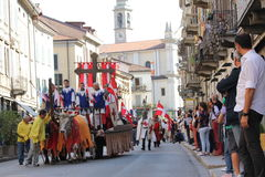 32nd, historical parade, Palio of Baradello royalty free stock photography
