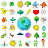 33 cartoon icon clip art collection. Of nature Stock Photos