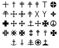 33 korssymboler Arkivfoto