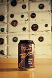 330ml Vanilla Flight Cherry Jam Taste Can on Brown Wooden Surface Stock Photos
