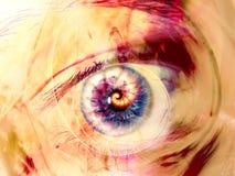 艺术数字式眼睛分数维漩涡 库存图片