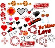 34 символа штемпелей комплекта влюбленности бесплатная иллюстрация