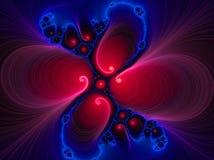 蓝色液体红色漩涡 皇族释放例证