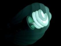 蓝色电灯泡绿灯 免版税库存照片