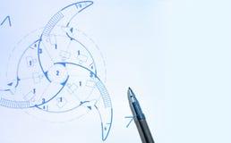 蓝色笔打印 免版税库存图片
