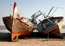 被放弃的单桅三角帆船 库存照片