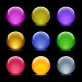 35 икон цвета шарика стеклянных установили сеть Стоковая Фотография RF