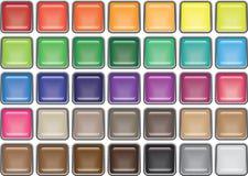 35 botones de cristal cuadrados bordeados Fotografía de archivo libre de regalías