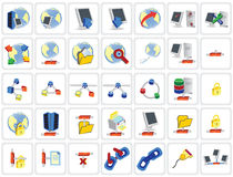 35 icone della rete Fotografie Stock Libere da Diritti