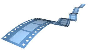35 mm blue film. 3D rendered 35 mm blue film in blue background Stock Photography
