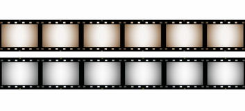 35 mm film strip, isolated on white Royalty Free Stock Photography