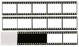 35 mm filmstrip, 12 picture frames,. 35 mm filmstrip, picture frames, isolated on white background, end of film with overexposure on left side Stock Images