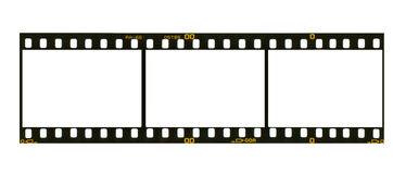 35 mm filmstrip, 3 picture frames,. 35 mm filmstrip, picture frames,isolated on white background Royalty Free Stock Photography