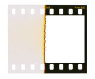 35 mm filmstrip, picture frame,. Isolated on white background, end of film with overexposure on left side Stock Photography