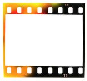 35 mm filmstrip,  picture frame, light incidence. 35 mm filmstrip, picture frame,with light incidence, isolated on white background Stock Photos