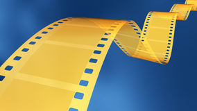 35 mm gold film. 3D rendered 35 mm gold film in blue background Stock Photography