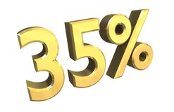 35 percent in gold (3D). 35 percent in gold (3D made Royalty Free Stock Image