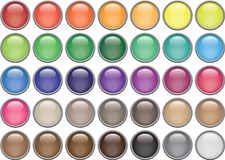 35 Rimmed Round Glass Buttons. Bubble-shaped rimmed round buttons in thirty five colours Royalty Free Stock Image