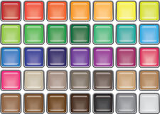 35 Rimmed Square Glass Buttons. Rimmed glass square buttons in thirty five colours Royalty Free Stock Photography
