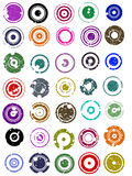 35 Splatted Circles. 35 splatted Circle Graphic Elements (Circles have transparent centres etc so they can be overlaid on other graphic elements Stock Photography