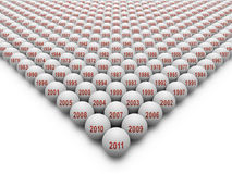 350 Golf balls for the History of Golf. 350 or more Golf Balls on a white background depicting the History of Golf Royalty Free Stock Image