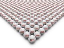 350 golfballen voor de Geschiedenis van Golf Royalty-vrije Stock Afbeelding