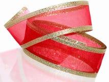 装饰金子红色丝带 库存照片