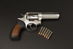 .357 Magnum. Stainless Steel .375 Magnum revolver stock photography