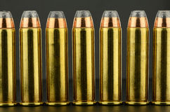 357 Magnum. Pistol Bullets in a row royalty free stock photos