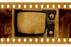 35mm框架老人照片电视葡萄酒 库存照片