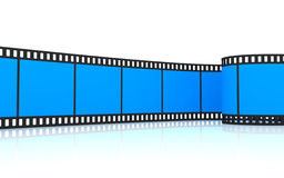 35mm blue film strip. 3D rendering of a 35mm blue film strip isolated on white Stock Photos