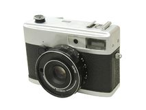 35mm camera. Old 35 mm camera on white background stock photo