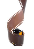 35mm classic negative film roll isolated. On white stock photo