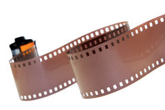 35mm classic negative film roll isolated. On white stock photography