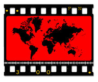 35mm color movie film with map. 2D digital art Stock Photos