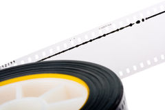 35mm film audio track. Closeup of 35 mm film or movie with audio track isolated in black royalty free stock photos