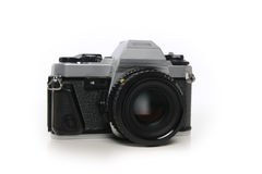 35mm film camera. 35mm programmable film camera isolated on white Stock Image