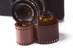 35mm film roll. On white background stock image