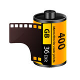 35mm film roll. Illustration of a retro 35mm film roll isolated on white royalty free illustration