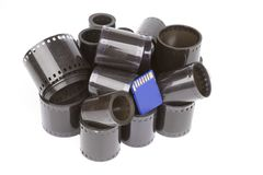 35mm film rolls and sd flash card Stock Photos