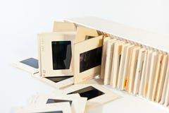 35mm film slides. 35mm old film slides in case stock photos